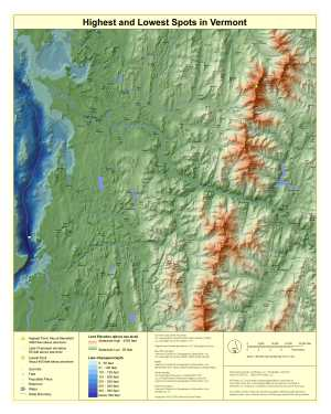 Highest and Lowest Spots in Vermont Map